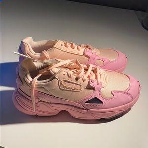 Baby pink adidas falcons